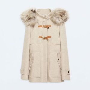 Zara Wool Coat with Removable Faux Fur Hood